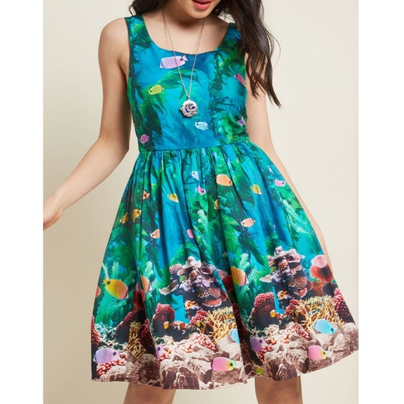 ModCloth aquarium fish tank ocean dress plus size